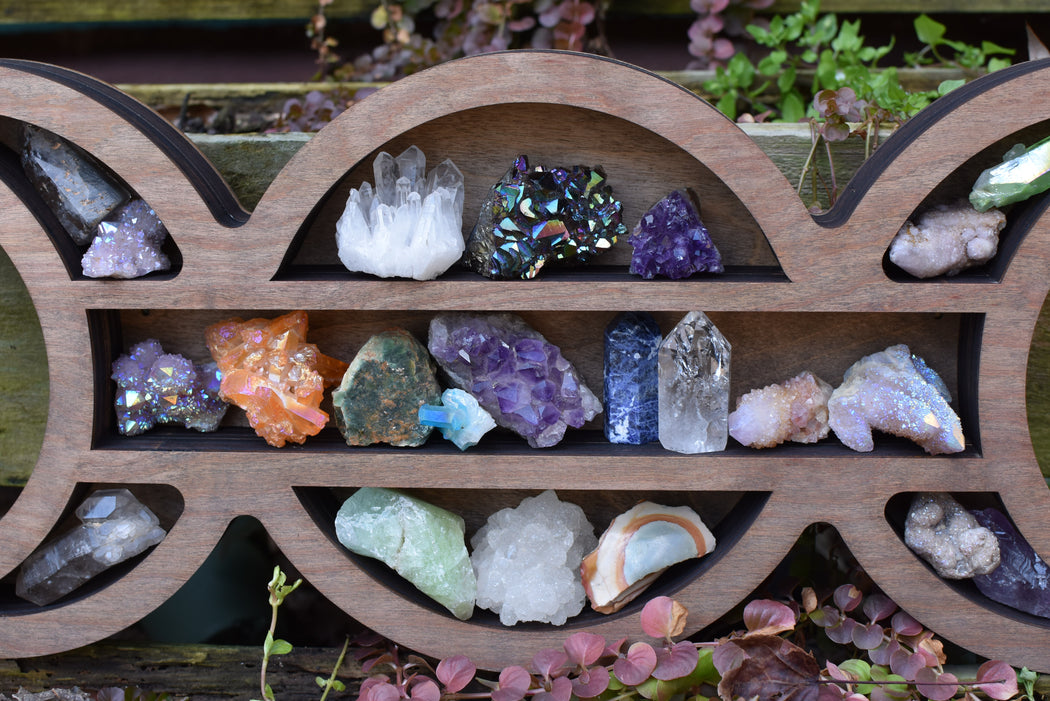 Almond Light Brown Moon Goddess Wooden Crystal Display Shelf