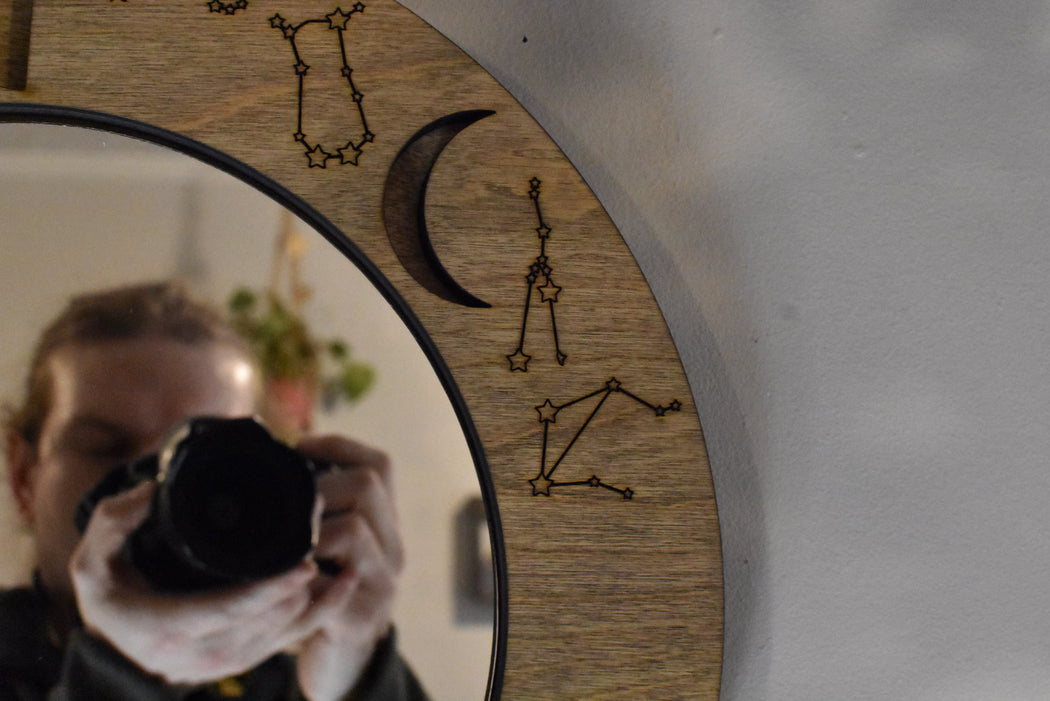 Almond Light Brown Moon Phases and Constellations Mirror