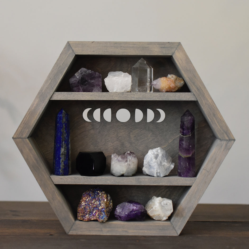 Grey Moon Phases Hanging Hexagon Display Box