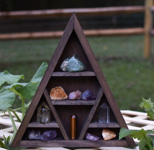 Wooden Triangle Crystal Display Shelf