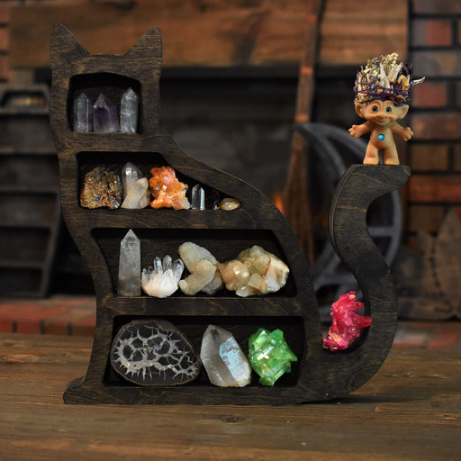 Brown Cat Shaped Crystal Shelf