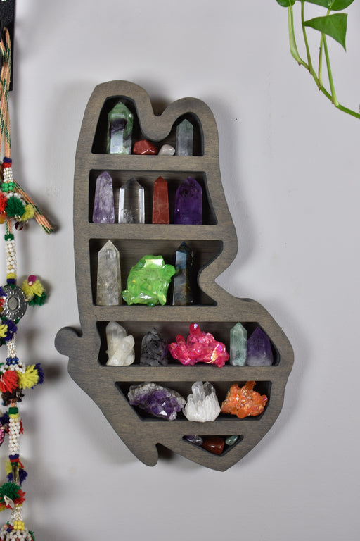 Wide Spacing Grey Butterfly-Shaped Wood Carving and Crystal Shelf