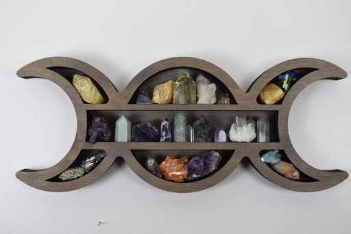 Grey Moon Goddess Wooden Crystal Display Shelf