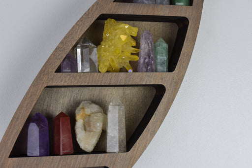 Grey Feather Crystal Display Shelf