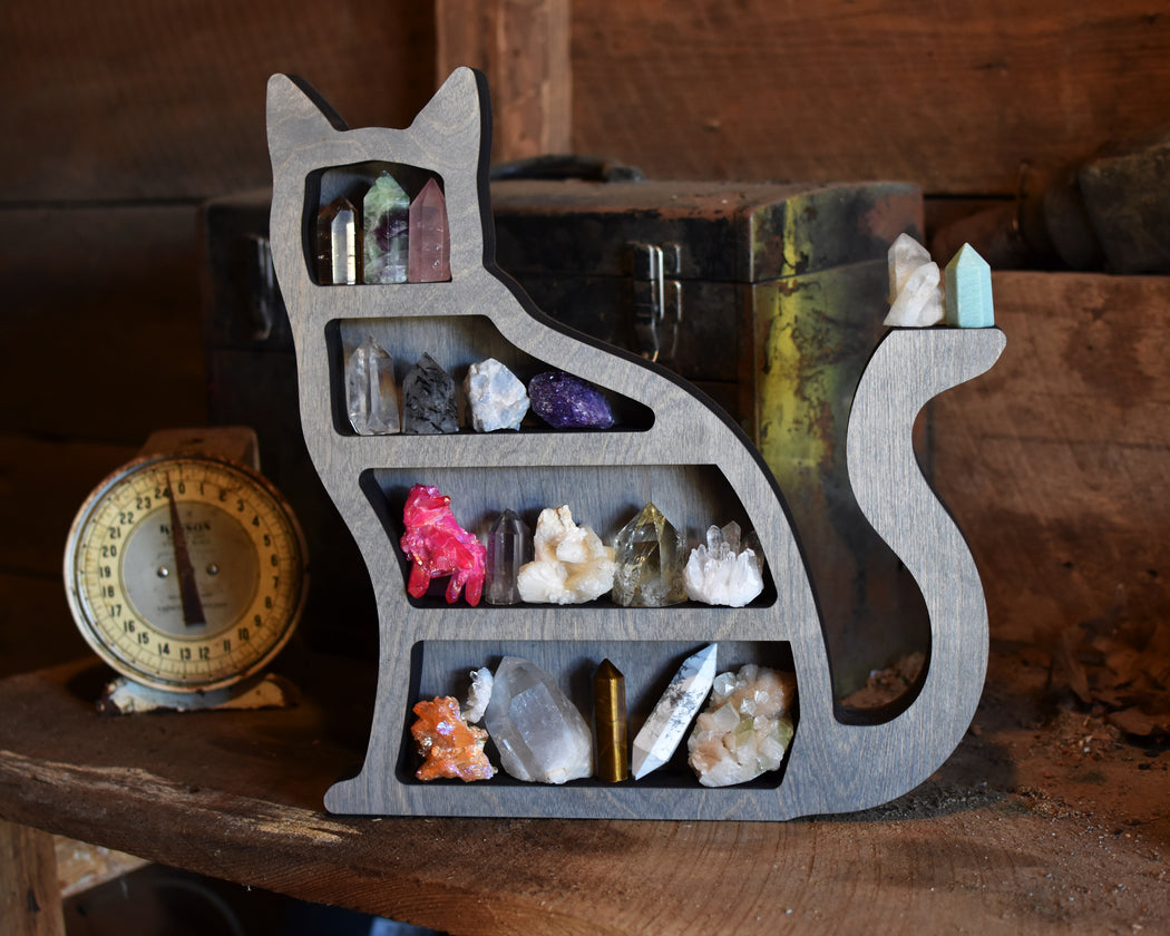 Grey Cat Shaped Crystal Shelf