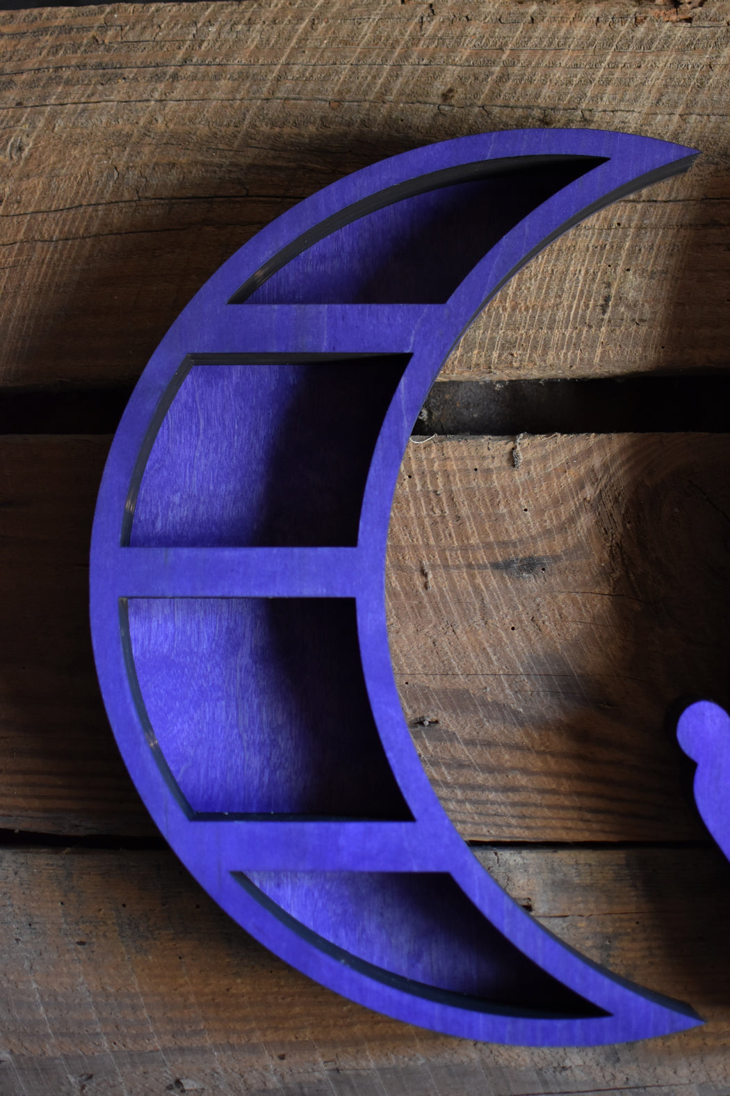 Purple Crescent Moon Shelf and Wood Carving