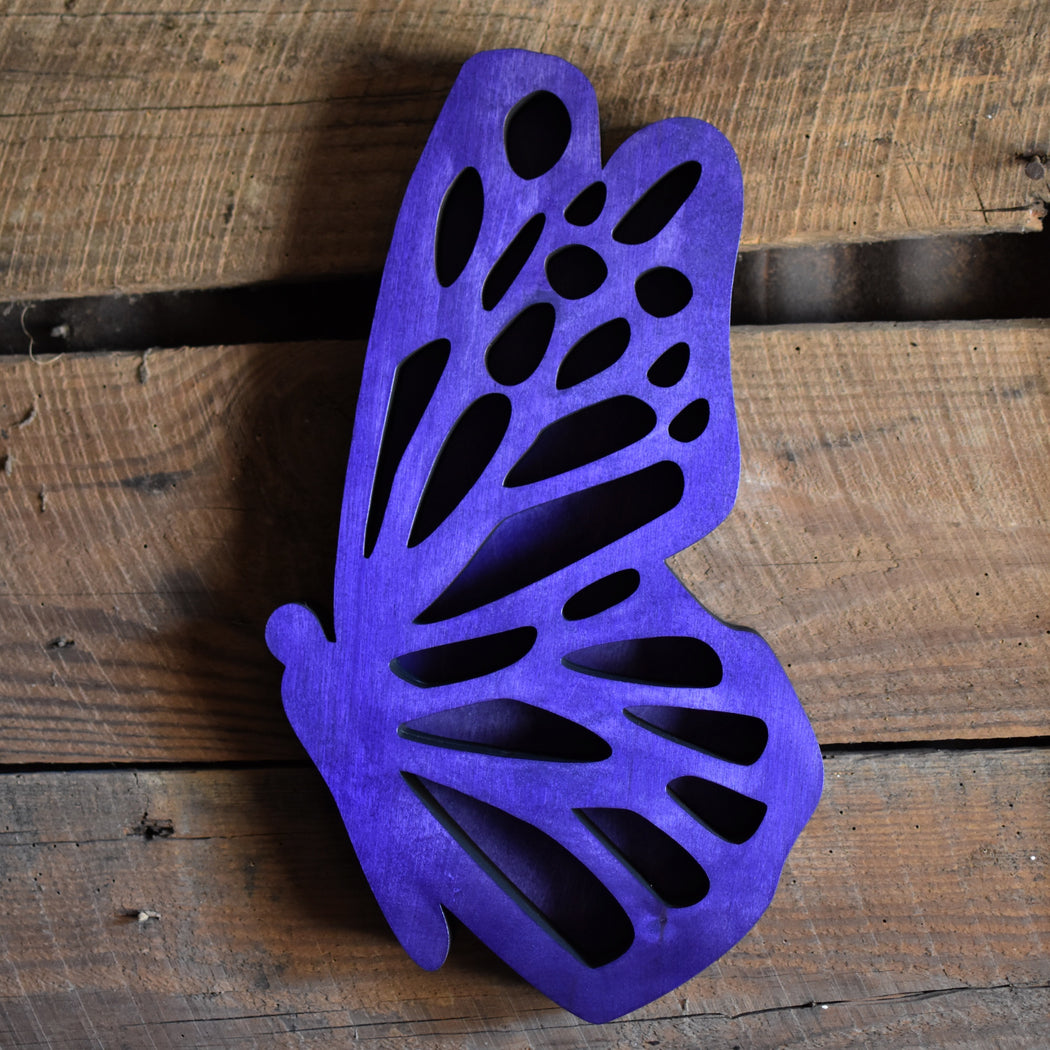 Purple Butterfly-Shaped Wood Carving and Crystal Shelf