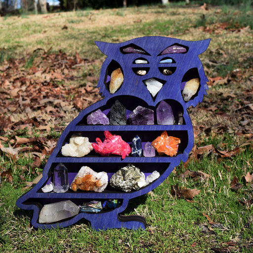 Indigo Owl-Shaped Wood Carving and Crystal Shelf