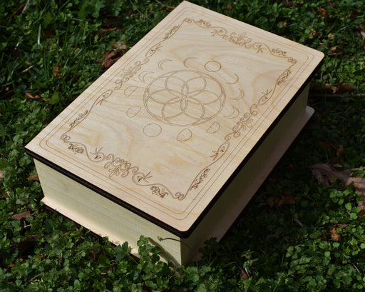 Natural Storybook Hinged Lid, Engraved Box and Crystal Storage