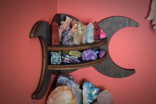 Brown Moon Goddess Wooden Corner Crystal Display Shelf