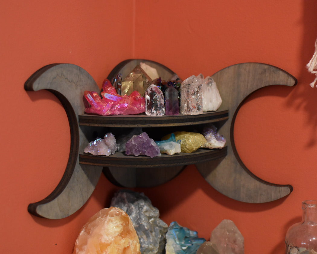 Grey Moon Goddess Wooden Corner Crystal Display Shelf