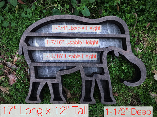 Grey Elephant Wood Carving and Crystal Shelf
