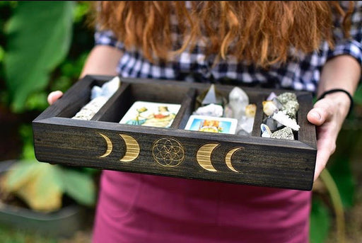 Large Moon Phases - Seed of Life Engraved Divided Tarot and Crystal Storage Box