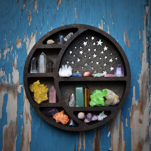 Starry Circular Moon Shelf and Wood Carving
