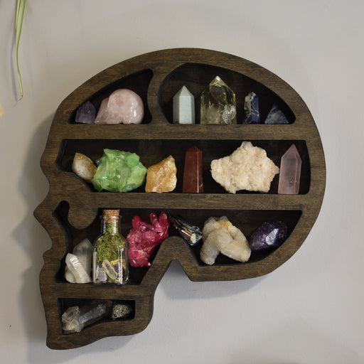 Brown Skull-Shaped Crystal Display Shelf