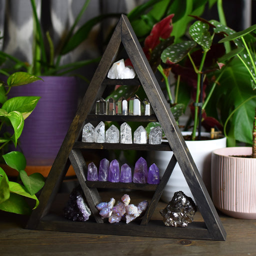 Backless Triangle Shelf - Brown - Crystal Shelf