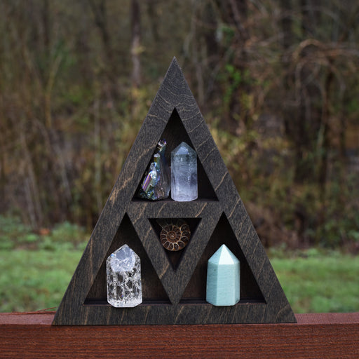 Petite Brown Triangle Wood Carving and Crystal Shelf