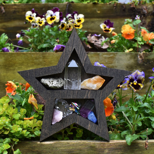 Petite Brown Star Wood Carving and Crystal Shelf