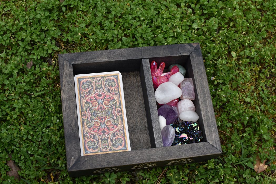 Lotus Engraved Divided Tarot and Crystal Storage Box