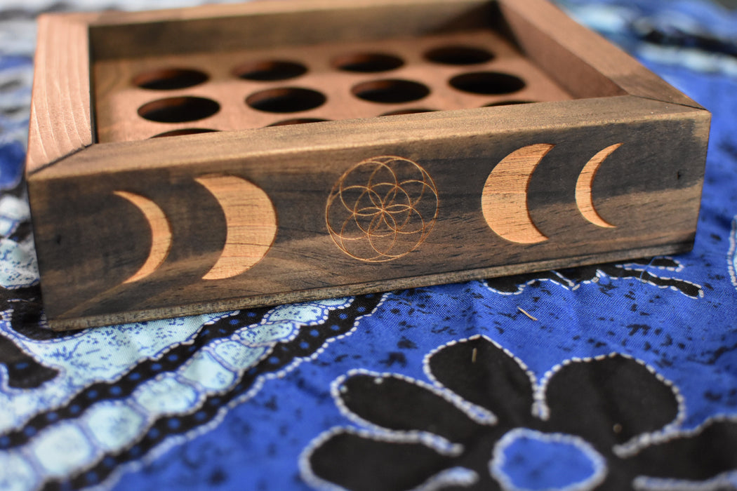 Essential Oil Moon Phases and Seed of Life Engraved Divided Storage Box