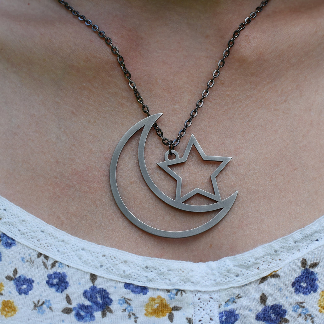 Moon & Star Pendant - Series 1 - Stainless Steel