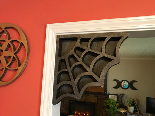 Brown Spider Web Shaped Corner Crystal Shelf or Display
