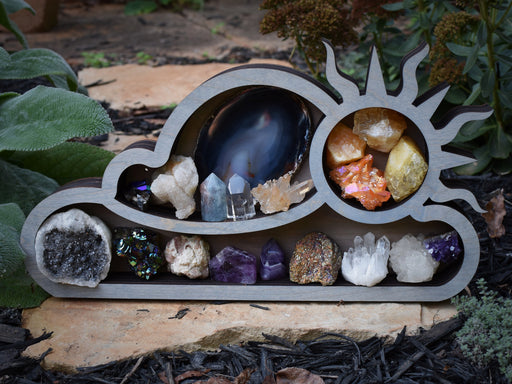 Grey Cloud and Sun Wood Carving and Crystal Shelf