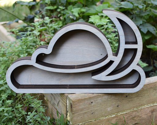 Grey Cloud and Moon Wood Carving and Crystal Shelf