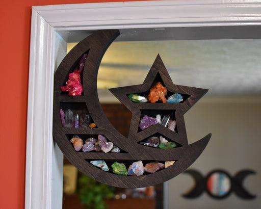 Left Side Moon & Star Corner Crystal Shelf or Display