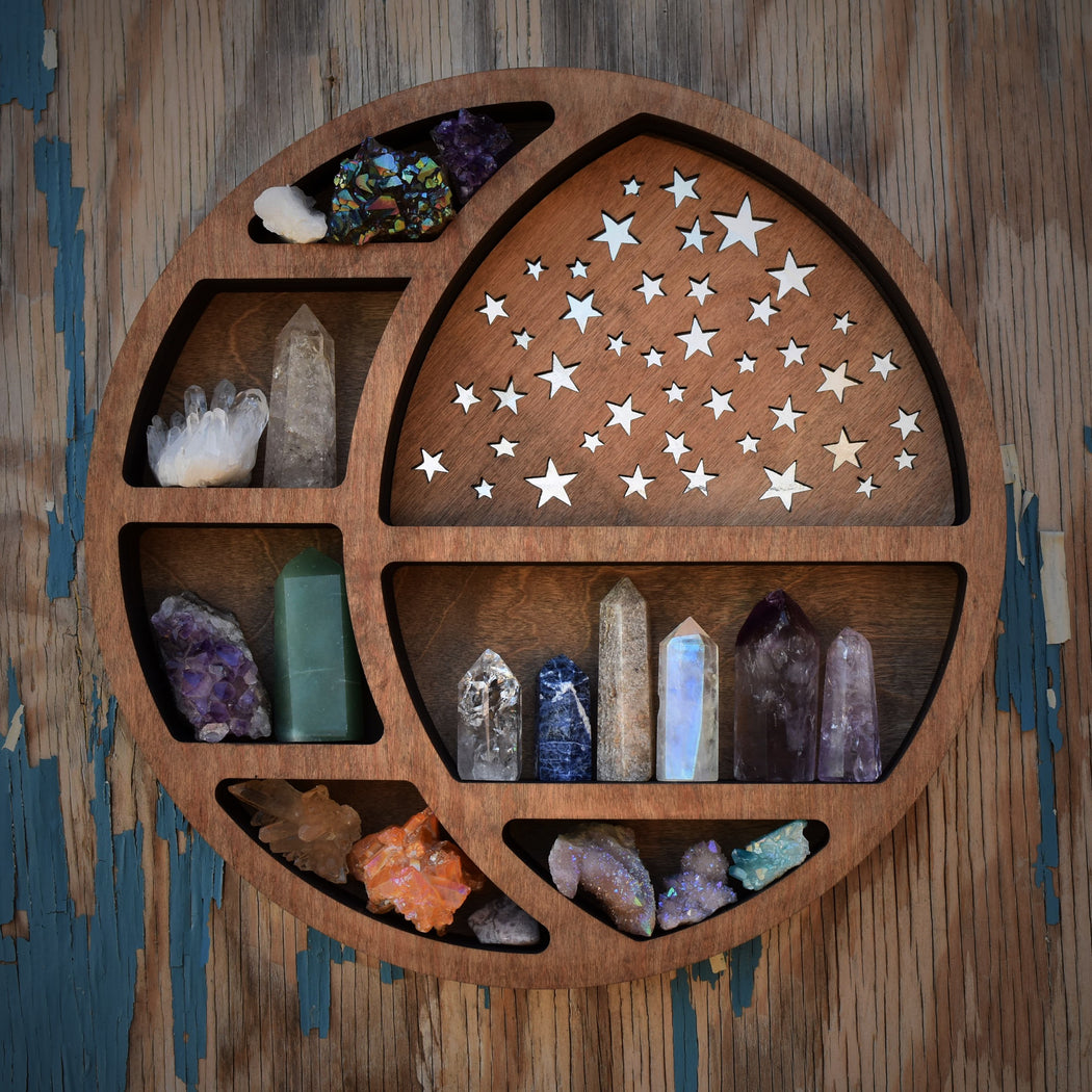Almond Light Brown Starry Circular Moon Shelf and Wood Carving