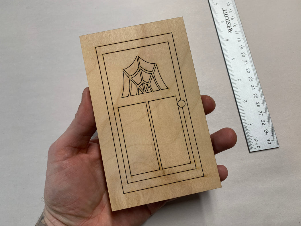 Unfinished Engraved Fairy Door No. 1 - Art Panel - J. Drew + You