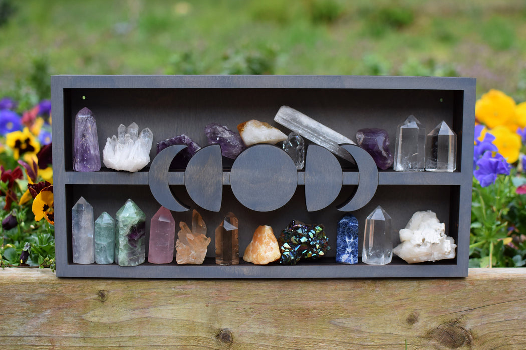 Grey Moon Phases Centered Crystal Shelf