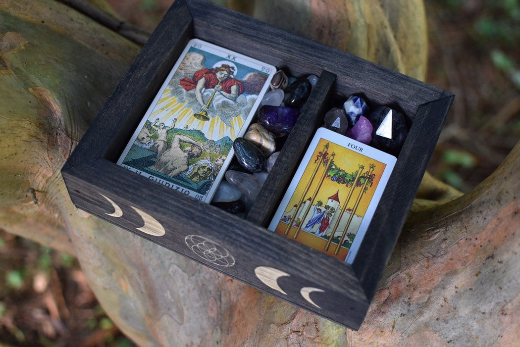 Moon Phases - Seed of Life Engraved Divided Tarot and Crystal Storage Box