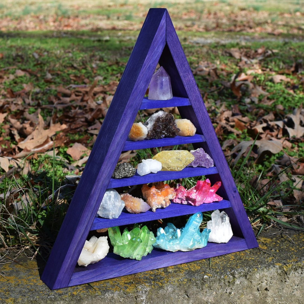 Indigo Metallic Pearl Crystal Charging Triangle Display Shelf