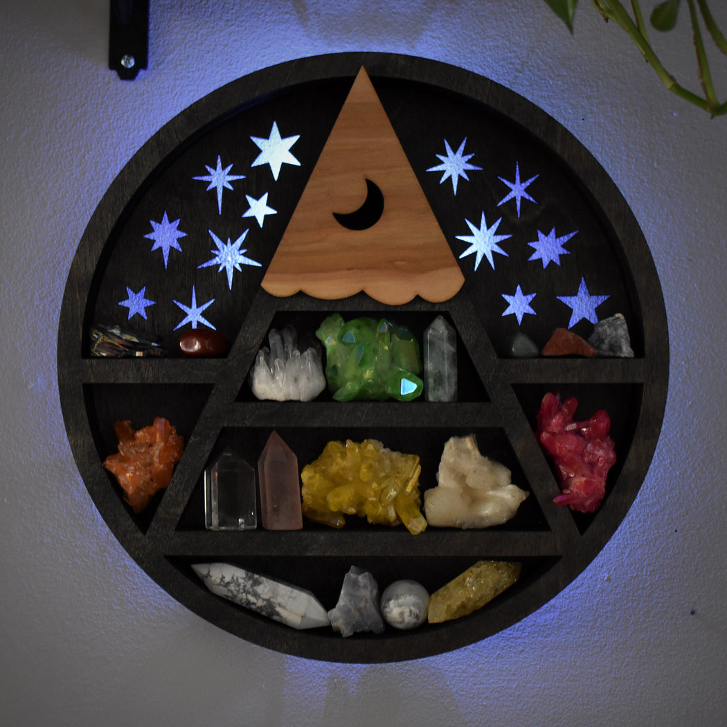 Illuminated Scenery Shelf and Wood Carving