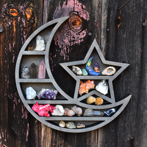 Grey Crescent Moon & Star Shelf and Wood Carving