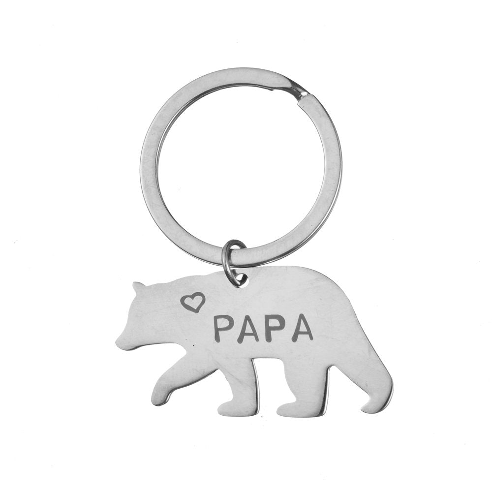 Father's Day Papa Bear Steel Keychain