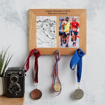 Personalized Oak Photo Frame And Medal Hanger