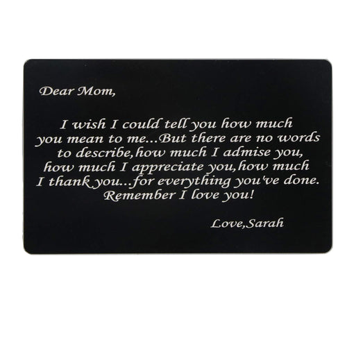 Engraved Stainless Steel Wallet Card
