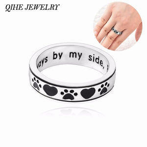 Personalised Engraved Dog Paw print Ring - Pet Memorial Dog Lover Gift