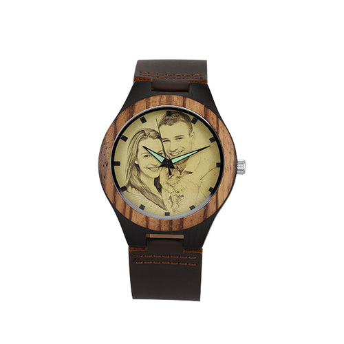 Personalised Photo Print style Wooden Watch