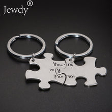 Load image into Gallery viewer, Personalised Stainless Steel Jigsaw Puzzle Keychain