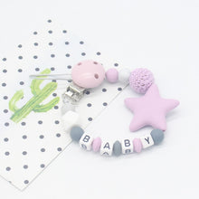 Load image into Gallery viewer, Personalised Five Star Silicone Beads Teething Chain Clip