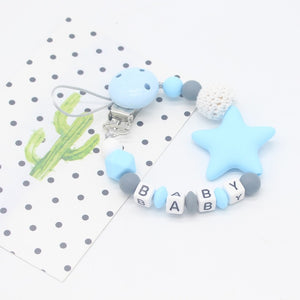 Personalised Five Star Silicone Beads Teething Chain Clip