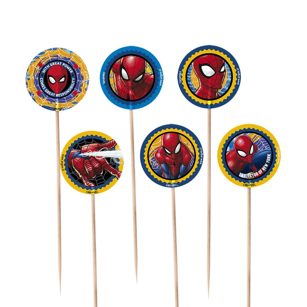 BROCHETAS SPIDERMAN   6 UNIDADES