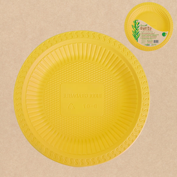 "PLATO GREEN PARTY 10"" AMARILLO 3 UNIDADES"