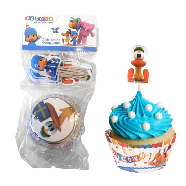 SET CUPCAKES Y PICKS POCOYO PATO