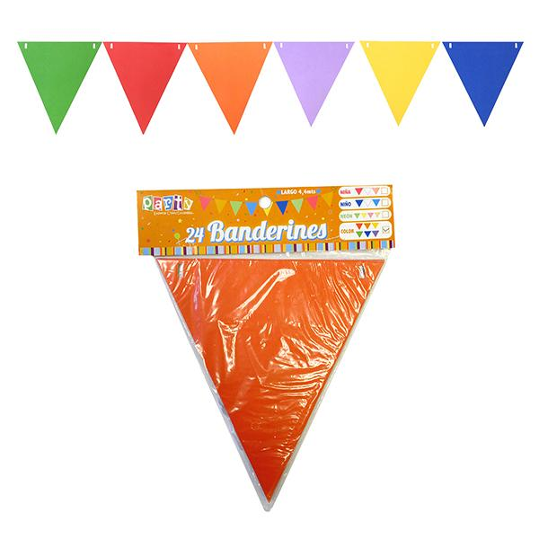 BANDERIN TRIANGULAR COLORES SURTIDOS 4.4 MTS