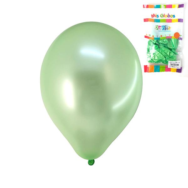 GLOBO LATEX CAUCHO NATURAL #9 METAL VERDE LIMA   12 UNIDADES