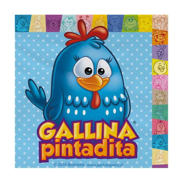 SERVILLETA FULL COLOR GALLINA PINTADITA   12 UNIDADES